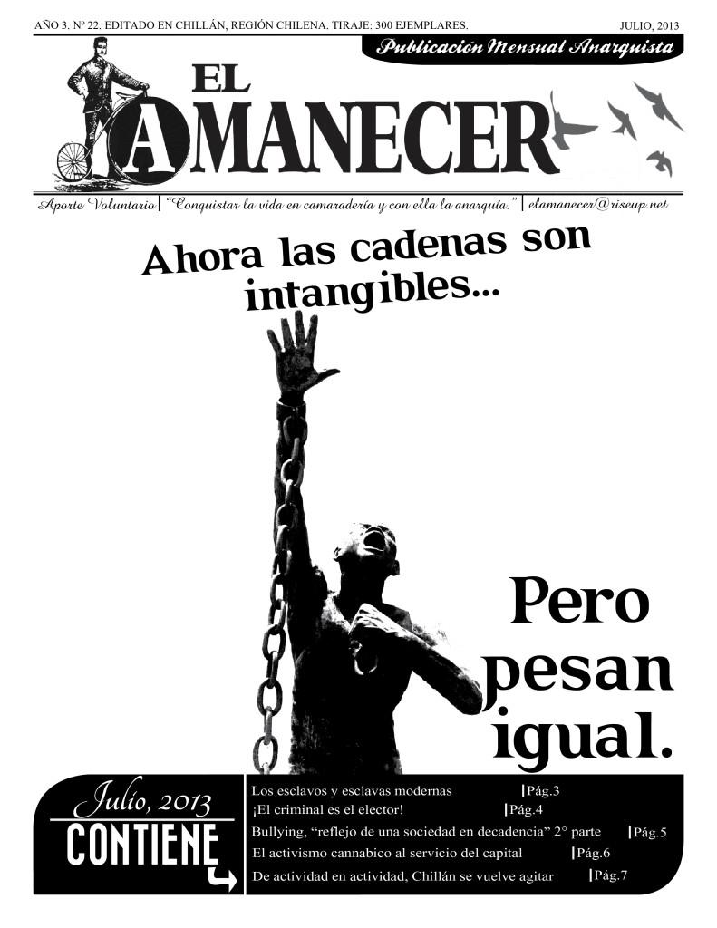 Periodico anarquista El Amanecer, Julio 2013, portada